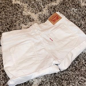 White Levi Jean Shorts